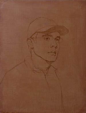 Portrait of Gregg (oil, 26x20) by Adrian Gottlieb, Step 1