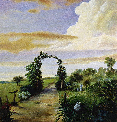 Le Jardin Rustique (watercolor with body color, 31 1/2x29 3/4)