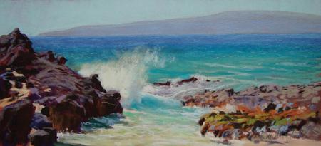 Secret Beach (pastel) by Clark Mitchell