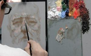 Jon David Kassan paints with a vertical palette