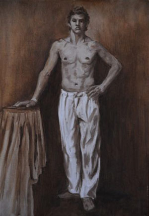 For Alex Homage To JS Sargent And HS Tuke By Christopher Pierce Oil Figure