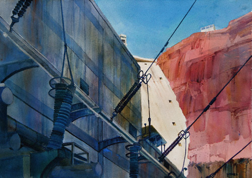Hydroelectric (watermedia, 29x41) by Dale Laitinen, acrylic, watercolor painting, gesso