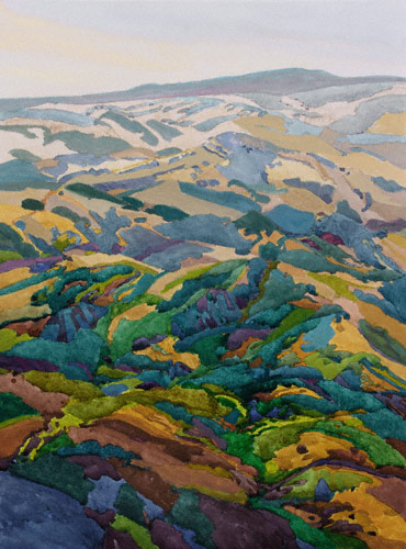 The Curve of the Earth (watercolor, 21x14) by Robin Purcell