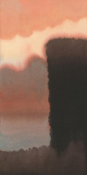 Valley Dawn (watercolor, 22x11) by Michael Reardon