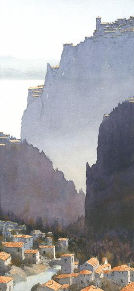 Piemonte (watercolor, 22x11) by Michael Reardon