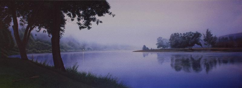 Delaware Dawn (acrylic, 22x60) by Mark Workman
