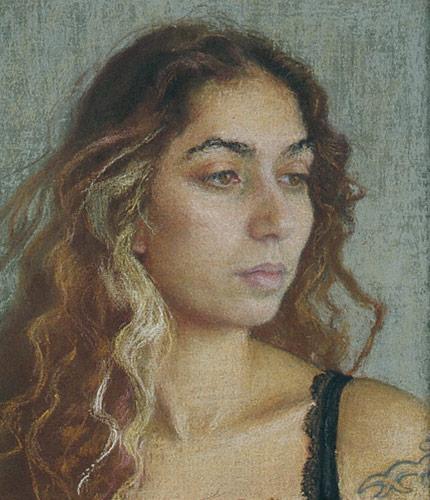 Asha (pastel, 6 1/2x5 3/8) by Ellen Eagle