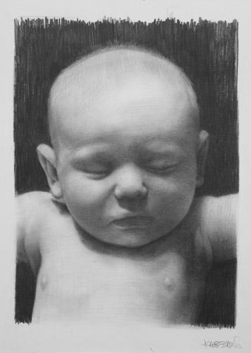 Lucas at 3 and a Half Months (graphite,  17x11) by David Jon Kassan