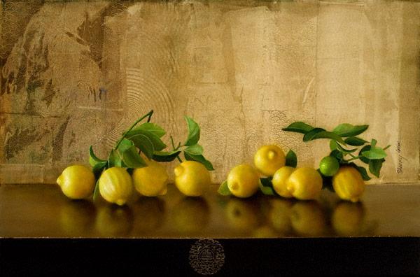Lemon Solo (acrylic, 24x36) by Sherry Loehr