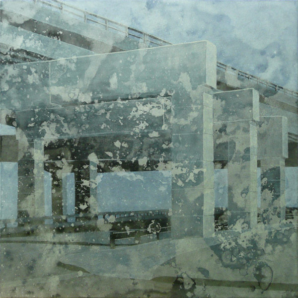 Double Exposure (acrylic, 36x36) by Pat Stanley, collage painting tip