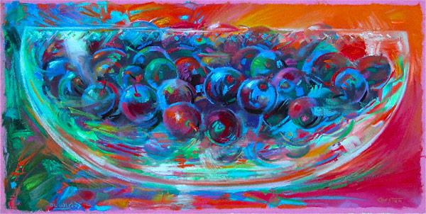 Tahitian Berries (pastel, 12x24) by Robert K. Carsten