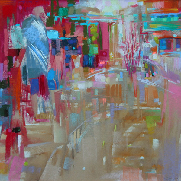 Recycling Station (pastel, 17x17) by Robert K. Carsten