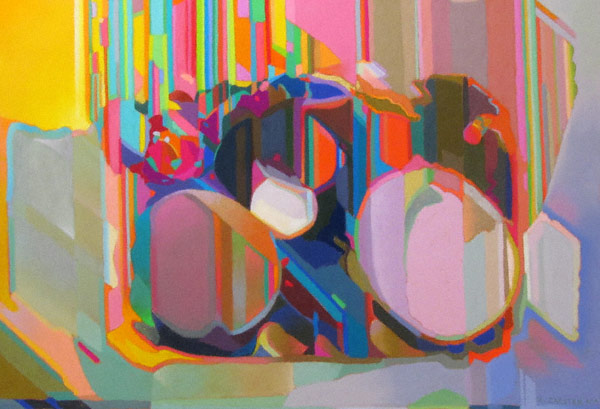 Container Lids (pastel, 16 1/2x24) by Robert K. Carsten