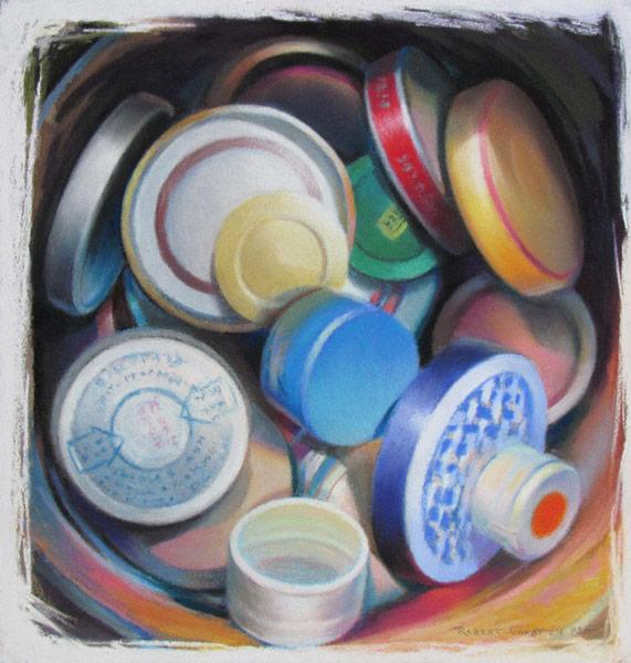 Circles, Caps (pastel, 11x10) by Robert K. Carsten
