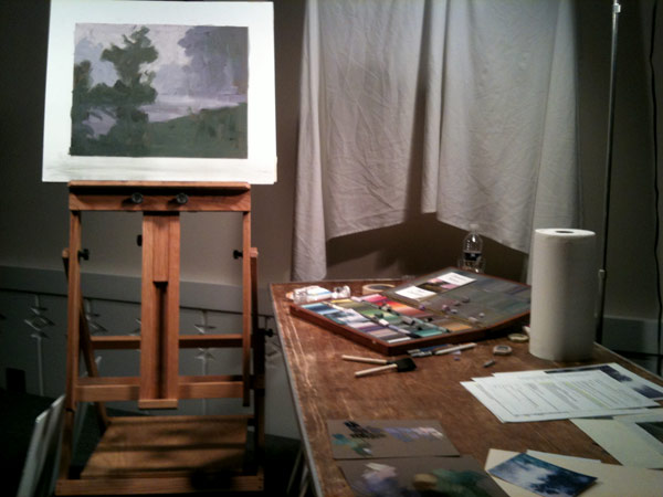 Elizabeth Mowry's underpainting for depicting mist in a landscape