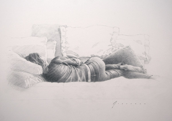 Figure Sketching: Drawing of Katerena (graphite, 12x16) by Vincent Giarrano