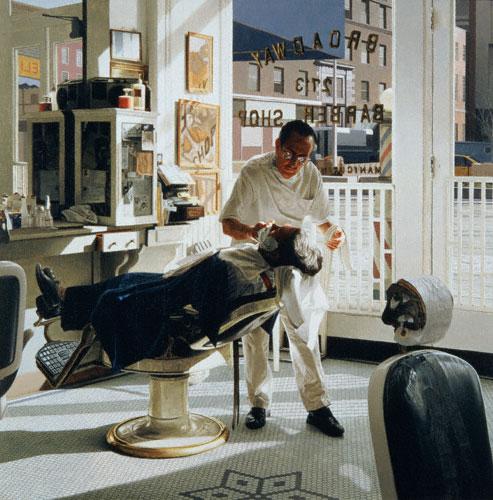 Broadway Barber (oil, 36x36) by Max Ferguson