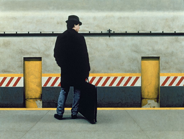 Self-Portrait in Subway II (oil, 27x36) by Max Ferguson