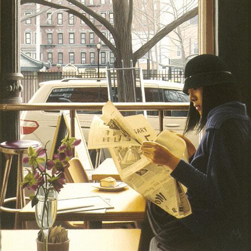 Woman in Café (oil, 12x12) by Max Ferguson