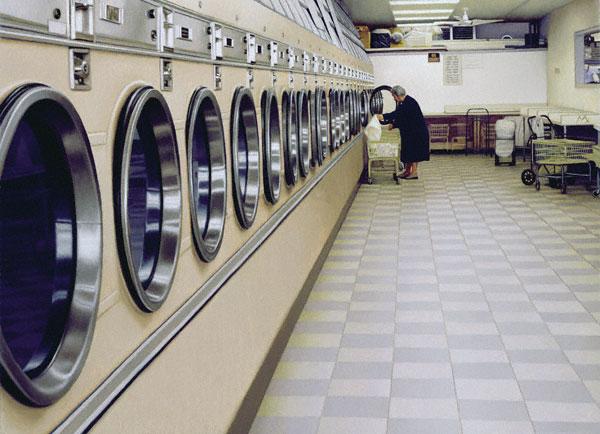 Laundromat (oil, 9x12) by Max Ferguson
