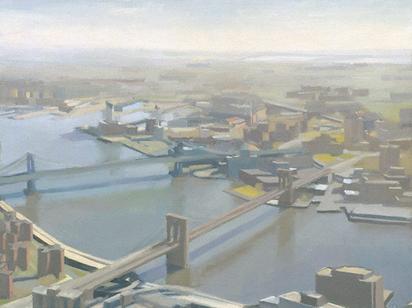 East River and Bridges (oil, 15x20) by Diana Horowitz