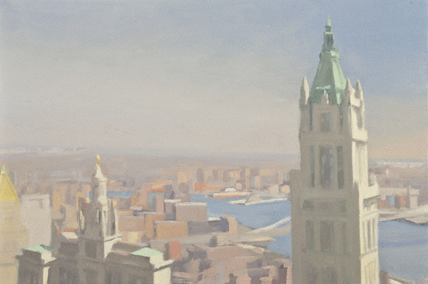 Woolworth and East River (oil, 12x18) by Diana Horowitz