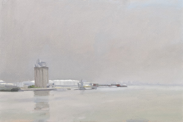 Bayonne Silo, Grey Day (oil, 12x18) by Diana Horowitz