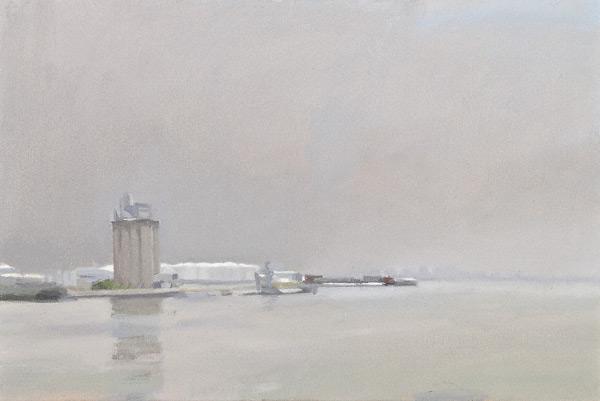 Bayonne Silo, Grey Day (oil, 12x18) by Diana Horowitz
