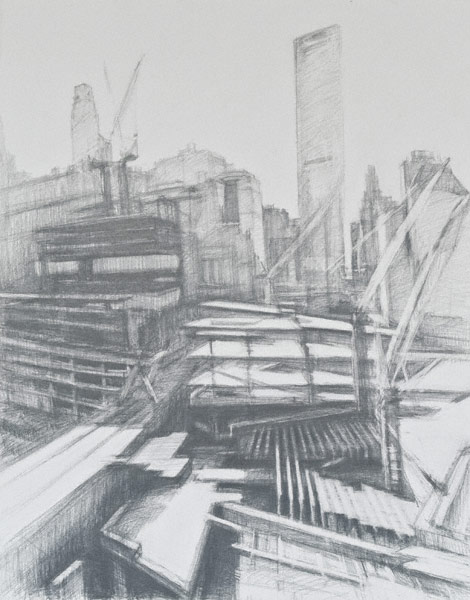 Construction Crane at WTC Vertical (graphite, 24x19) by Diana Horowitz
