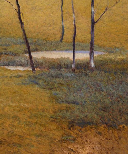 Island Pond (oil, 6 x 5 1/2) by Kent Lovelace