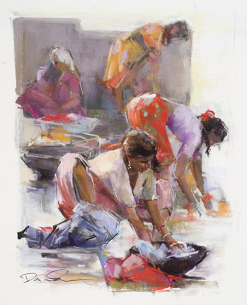 Dawn Emerson, Ghat Women (19x15)