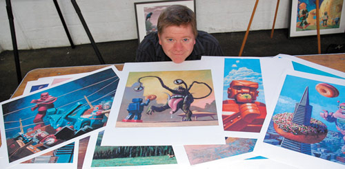 Eric Joyner, whose narrative paintings feature toy tin robots and donuts, works with Internet company CafePress, which handles his T-shirts, mugs, clocks and note cards. An online subsidiary, Imagekind, prints quality reproductions of his paintings. Artists can post directly to both companies' online shops.