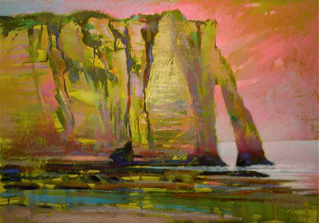 Cliffs at Etretat (18x26) by Robert K. Carsten