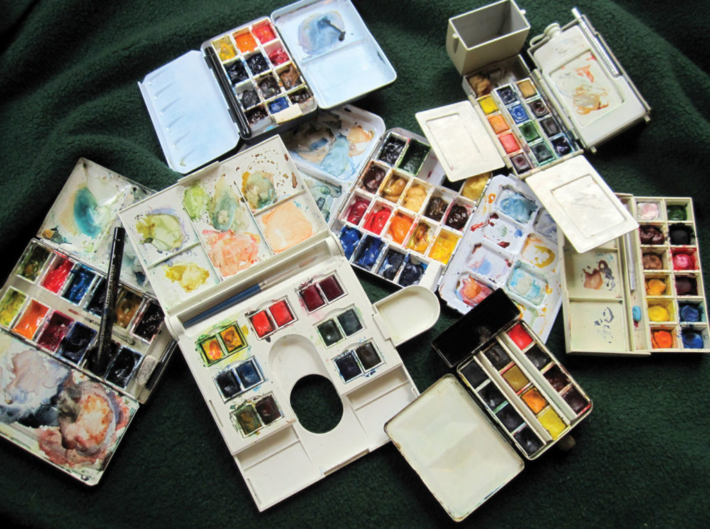 A Palette for Every Trip There are a number of small commercial travel palettes available (see a few at opposite). Consider weight, versatility, pan size and quality of the paints, and pick the one that best suits the way in which you work.