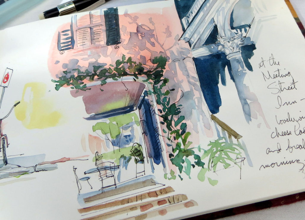 On a recent trip to Charleston, SC, I was astonished and delighted to discover I was able to fill an entire folding sketchbook in 5 days, using only this tiny kid's watercolor box (with my own colors in it), a pen, a mechanical pencil and a waterbrush (except for a single image for which I branched out a bit.)