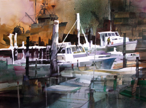 """Gloucester Boatyard"" (watercolor, 22x30) by John Salminen"