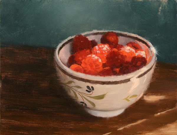Raspberries in Sunlight (oil, 7x9) by Vincent Giarrano