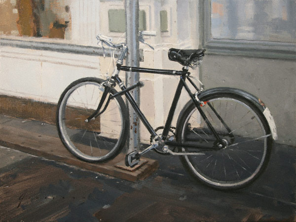 Black Bicycle (oil, 9x12) by Vincent Giarrano