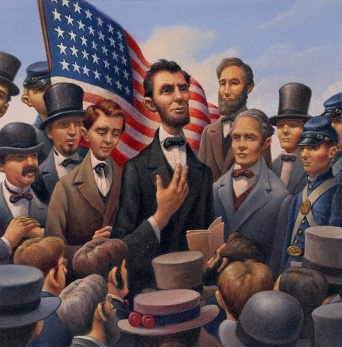 Lincoln (acrylic, 13x13) from Of Thee I Sing by Barack Obama (Alfred A. Knopf, 2010), illustrated by Loren Long