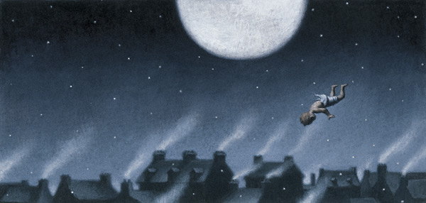 Flying Baby Jesus (acrylic, 10x20) from Angela and the Baby Jesus by Frank McCourt (Scribner, 2007), illustrated by Loren Long