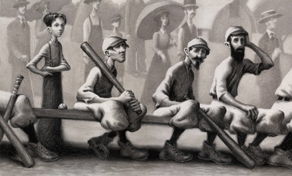Magic in the Outfield (charcoal on paper, 9x12) from The Sluggers chapter series by Phil Bildner and Loren Long, illustrated by Loren Long
