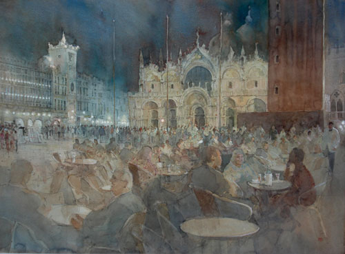 Enjoying the Evening, St Mark's Square Venice (watercolor on paper, 20x28) by Paul Banning