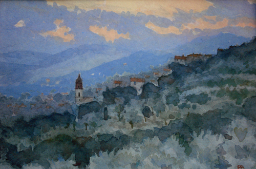 Evening Light over Senise Basilicata (watercolor on paper, 14x18) by Paul Banning