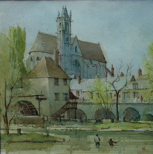 Fishing at Moret sur Loing (watercolor on paper, 29x19) by Paul Banning