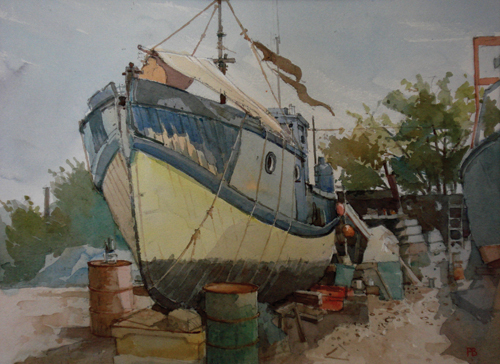 House Boat, Felixstowe (watercolor on paper, 15x18) by Paul Banning