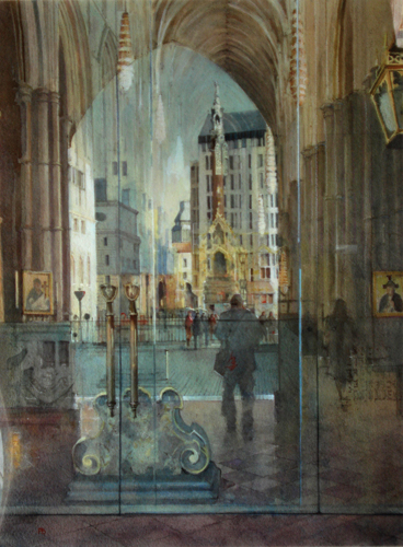 Looking Out, Looking In–West Door, Westminster Abbey (watercolor on paper, 29x19) by Paul Banning