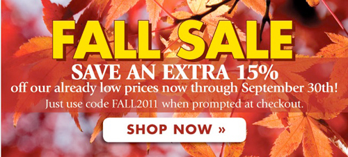 Save an extra 15% today through September 30—just use code FALL2011 at checkout.