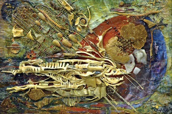 Sea Bed (acrylic mixed media assemblage, 24x36x2) by Tom O'Hara
