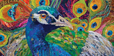 Fine Feathers (collage, 20x40) by Elizabeth St. Hilaire Nelson