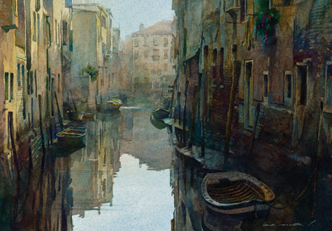 Venice Calm (watercolor, 14x22) by Stan Miller